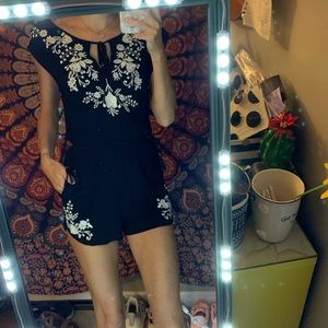 embroidered floral romper